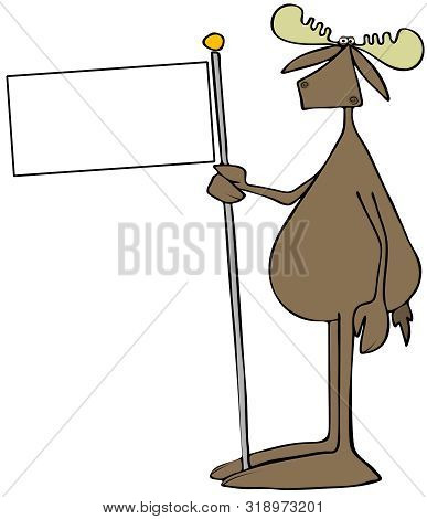 Illustration Of A Bull Moose Standing Upright And Holding A Blank Flag On A Pole.