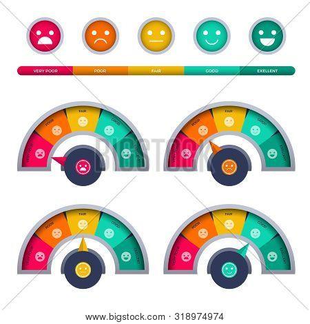 Tachometer. Ratio Measuring Interface Of Happy Rate Satisfaction Customer Tachometer Speedometer Bus