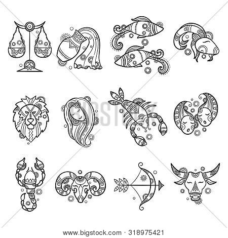 Zodiac Characters. Astrology Horoscope Signs Tattoos Lion Aries Fish Cancer Vector Graphics. Illustr