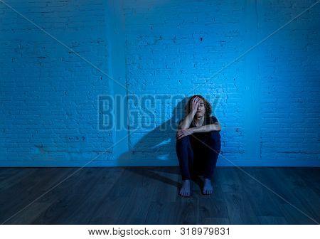 Devastated Depressed Millennial Man Crying Sad Feeling Hurt Suffering Depression. Teenager Victim Of