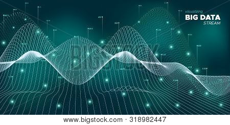 Wave Big Data Network. Particle Abstract Background. Green Futuristic Digital Information. Neon Glow