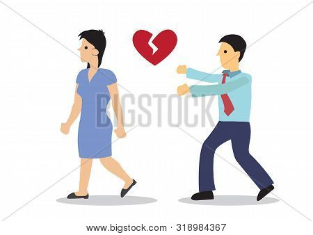 Girl Running Away From Her Boyfriend Or Husband. Concept Of Relationship Breakup Or Betrayal. Flat I