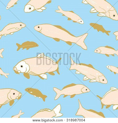 Wavy Sealife Goldfish Koi Seamless Pattern. With Carp Fish In Tones Of Beige And Rose Color. Modern,