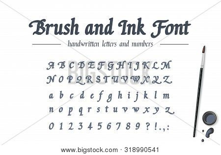 Hand Drawn Alphabet Written With Brush Pen And Ink. Universal Handwritten Bold Font. Retro Style Cla