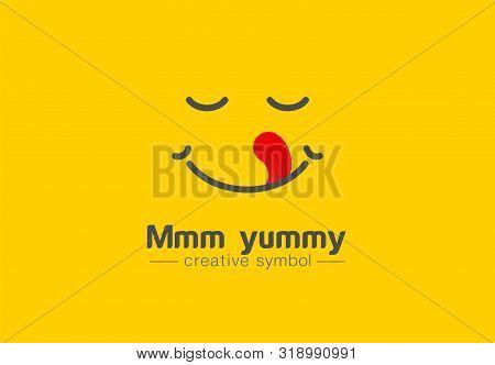 Yummy Smile, Tongue In Heart Shape Creative Symbol Concept. Delicious, Taste, Pleasure Abstract Busi