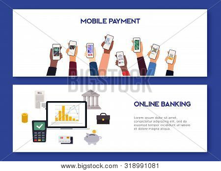Mobile Payment And Mobile Banking Concept. Flat Design Vector Illustration Concepts Of Online Paymen