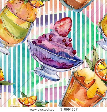 Tasty Ice Cream In A Watercolor Style. Aquarelle Sweet Dessert Illustration Set. Seamless Background