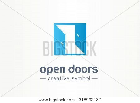 Open Door, In And Out Creative Symbol Concept. Enter, Exit, Real Estate Agency Abstract Business Log