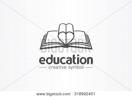 Education, Open Book With Heart Shape Creative Symbol Concept. Novel, Love Story, Affair Abstract Bu