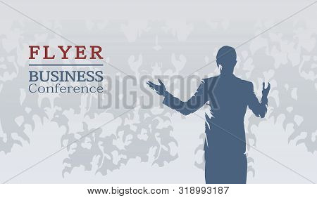 Speaker In Suit Gesturing At Business Conference In Front Of An Audience, Flat Design Vector Illustr