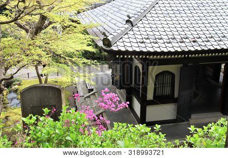 Ancient pavilion in Hasedera (Hase-dera) temple, Kamakura, Kanagawa prefecture, Japan