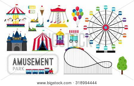 Amusement Park Elements. Ferris Wheel And Roller Coaster, Carnival Rides And Happy Family Amusing Ga