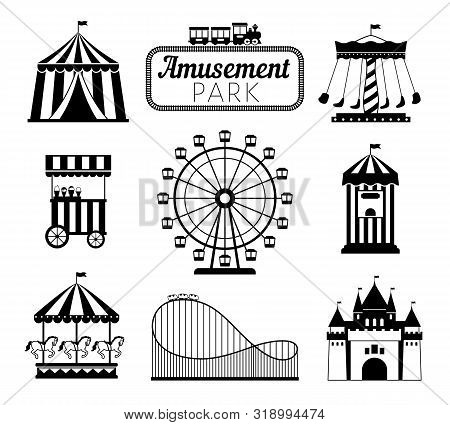 Amusement Park Black Icons. Recreation Fun Attractions Signs, Carnival Carrousel, Circus Ticket Serv