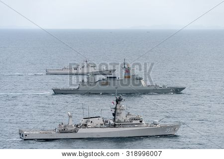Chonburi, Thailand - August 20, 2019: Navy Warships From Royal Thai Navy And Indonesian Navy Sail To