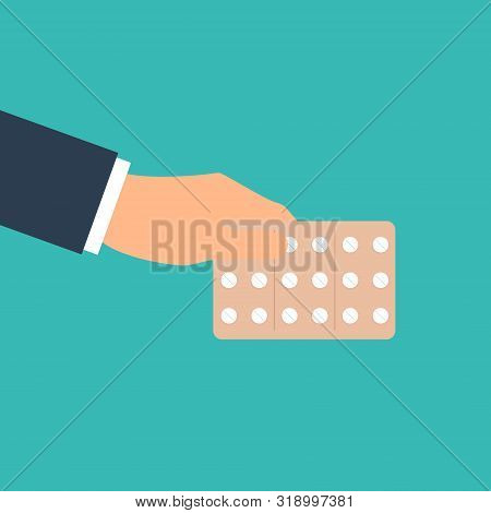 Pills Blisters. Cartoon Illness Capsules Vector Illustration, Aspirin Tablet And Antibiotic Pill, Pa