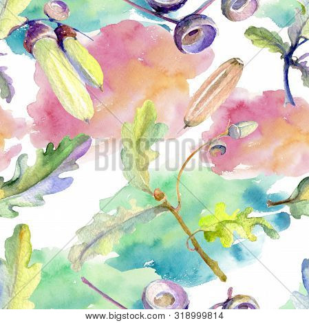 Forest Acorn Green Leaf And Nut. Watercolor Background Illustration Set. Seamless Background Pattern