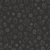 Seamless pattern with geometrical figures - parallelepiped, prism, pyramid, cylinder, cone, sphere, frustum. Hand draw background for textile, wallpaper, schoolbooks etc. Vector illustration EPS10 poster