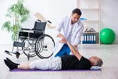 Aged patient recovering from injury in hospital  poster