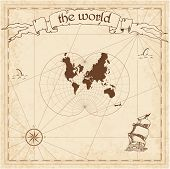 World pirate map. Ancient style navigation atlas. August's epicycloidal conformal projection. Old map vector. poster
