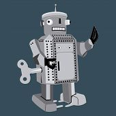 toy robot, retro rope toy, vintage robot, old toy robot, android poster