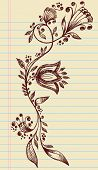 Sketchy Doodle Henna Elegant Flowers and Vines Hand Drawn Vector poster