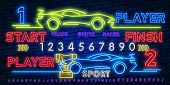 Neon Play and Win. Esports neon light icons set. Gaming device and gadgets. Video game tournaments. Glowing signs. Vector isolated illustrations poster