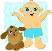 Here is a happy Baby with his Puppy companion. poster