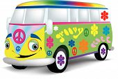 A very happy van or bus that is painted with the 1960's style flowers and symbols. poster
