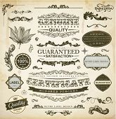 Vector set of calligraphic design elements: page decoration, Premium Quality and Satisfaction Guarantee Label, antique and baroque frames | Old paper texture with dirty footprints of a cup of coffee. poster