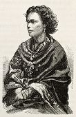 Peruvian woman old engraved portrait. After photo of Maumoury, published on L'Illustration, Journal Universel, Paris, 1863 poster
