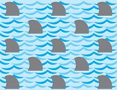 Repetitive background pattern of shark fins and stylized water poster
