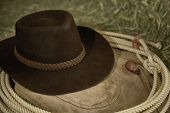 Western Cowboy hat with leather chaps and a roper's rope on hay in a barn poster