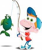 A happy boy that has just reeled in a large fish. His fishing pole is slightly bent. poster