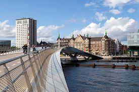 Copenhagen, Denmark - August 21, 2019: The New Modern Pedestrian And Cycling Bridge Lille Langebro.