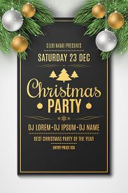 Flyer For Christmas Party. Christmas Concept. Festive Balls With Snow Dust. Fir Tree. Dj And Club. G