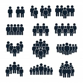 People Group Icon. Business Person, Team Management And Socializing Persons Silhouette Icons. Leader