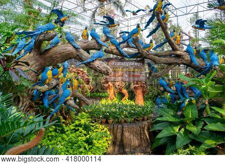 Pattaya,thailand-january 21,2019-artificial Birds In The Park Of Madame Nong Nooch