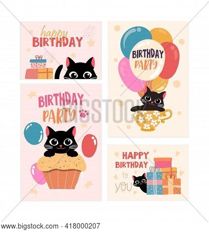 Set Of Happy Birthday Greeting Card And Party Invitation With Black Cat. Cute Smiling Cat With Color