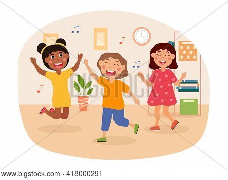 Group Of Happy Kids Is Dancing To Upbeat Music. Smiling Cute Little Children Are Enjoing Time Spent