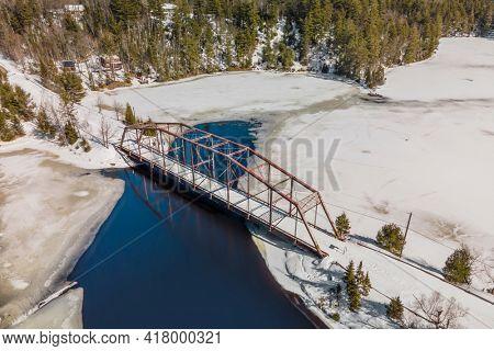 Aerial view of Old 510 bridge in Michigan upper peninsula