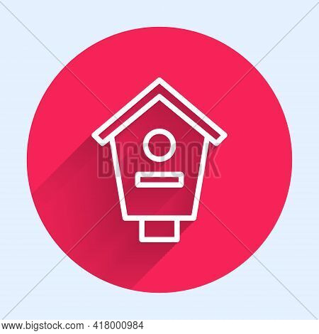 White Line Bird House Icon Isolated With Long Shadow. Nesting Box Birdhouse, Homemade Building For B