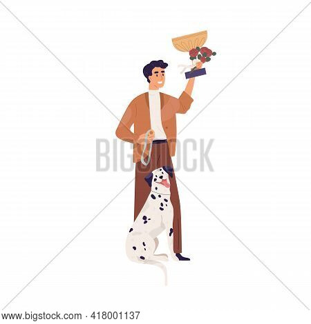 Portrait Of Dalmatian And Happy Pet Owner Holding Golden Cup For Doggy Shows Winner. Man With Gold G