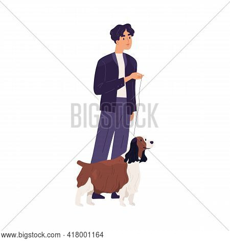Smiling Pet Owner Standing With His Small Shaggy Dog On Leash. Man And Doggy Of Springer Spaniel Bre