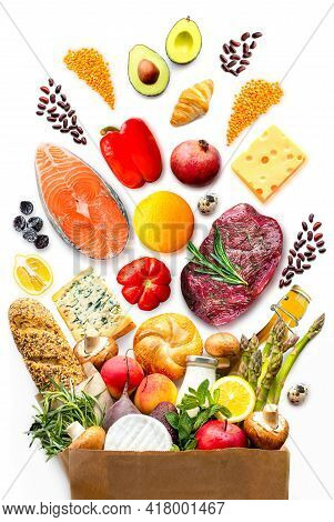 Food Delivery.market.shop Products. Supermarket Set Of Useful Products.food In The Bag.healthy Food