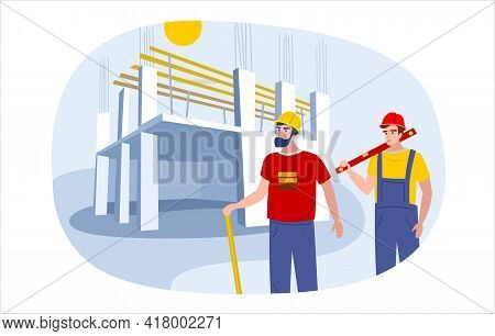 Two People Working In Hard Hats On The Background Of Monolithic Construction Of The House. Building