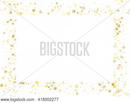 Magic Gold Sparkle Texture Vector Star Background. Vintage Gold Falling Magic Stars On White Backgro