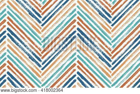 Scribble Chevron Fashion Print Vector Seamless Pattern. Paintbrush Strokes Geometric Stripes. Hand D