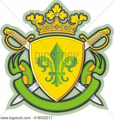 Shield Ribbons Crown , Heraldry Fleur De Lys .vector