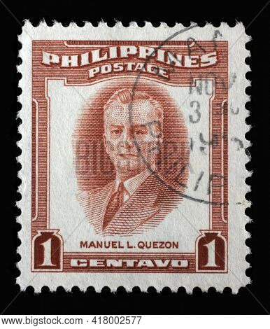 ZAGREB, CROATIA - SEPTEMBER 18, 2014: Stamp printed in Philippines shows portrait of Manuel Luis Quezon - served as president of the Commonwealth of the Philippines from 1935 to 1944, circa 1953