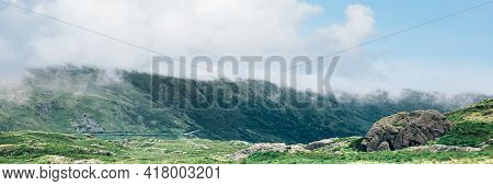 Beautiful Landscape Panorama Of Miners Tack In Snowdonia National Park In North Wales, Uk With Beaut